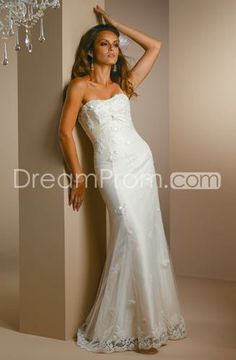 A Line Princess Strapless Sweeping train Lace wedding dress for brides 2010 style(WDA1414