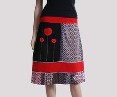 Aline skirt in black red and white jersey by ThongbaiTatong - StyleSays