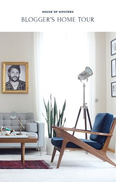 Blogger Home Tour /// House Of Hipsters /// Living Room with a Mid Century Modern and Bohemian style and look. Click thru to read more.