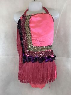 Girl's Vintage Dance Halter Leotard Pink With Sequin And Fringe Collectible Halloween Costumes For Sale, Vintage Dance, Come Undone, Leotards, Sequins, Pink, Ebay, Clothes, Collection