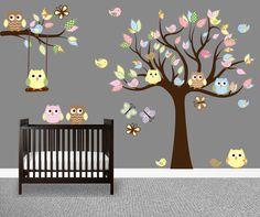 Owl Tree Decal Nursery wall art Owl tree wall by FindsbyCorbeau