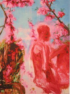 Zhou Chunya - Peach Blossoms Two Figures