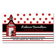 Red School House Teacher's Business Card. This great business card design is available for customization. All text style, colors, sizes can be modified to fit your needs. Just click the image to learn more!