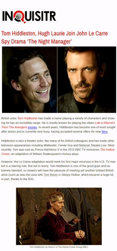 Inquisitr: Tom Hiddleston, Hugh Laurie Join John Le Carre Spy Drama 'The Night Manager'... http://www.inquisitr.com/1520041/tom-hiddleston-hugh-laurie-join-john-le-carre-spy-drama-the-night-manager/