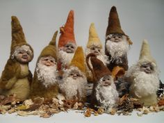 "Photo: Needlefelted cone pixies... between 4"" and 10"" in height. Colours chosen for Fall. The fleece for the 'coats' was hand-dyed using natural materials.. dahlia, onion eucalypts etc"