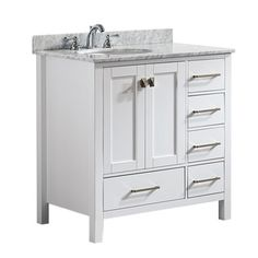 A perfect complement to a contemporary space, the Vinnova Gela vanity combines the clean, sharp lines of modern design with classic furniture styling. The carrara white marble countertop provides a dr