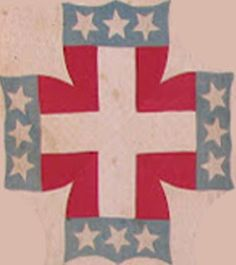 A possible Confederate quilt with the image of the Confederate shield with three stripes.