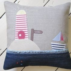Ticketty Boo. Ticketty Boo Linen Applique Lighthouse and Boat Cushion