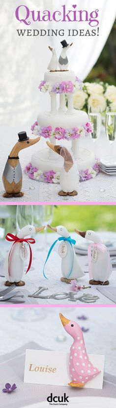 If you are planning a wedding and are looking for a country style, look no further than our lovely range of duck themed wedding ideas! Including personalised gifts for the bride and groom, wedding cake toppers, favours, place name settings, and personalised wedding party gifts for bridesmaids and page boys! Explore our full range of wedding themed ideas on our website at The Duck Company, DCUK.