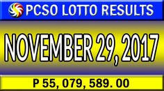 PCSO Lotto Results November 29, 2017 (6/55, 6/45, 4D, SWERTRES & EZ2 LOTTO) Lotto Results, November, Youtube, November Born, Youtubers, Youtube Movies