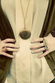 Teal & gold nail polish