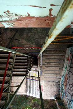 Derelict stairwell inside the Carriageworks building, Stokes Croft, Bristol