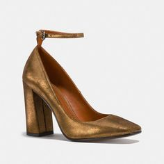 Coach Ankle Strap Pump Size  10  B (12.810 RUB) ❤ liked on Polyvore featuring shoes, pumps, gold, leather pumps, high heel pumps, high heel shoes, metallic leather pumps and metallic leather shoes