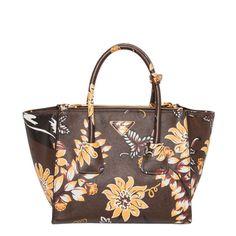 Prada Floral Printed Saffiano Leather Twin Pocket Tote - Overstock™ Shopping - Big Discounts on Prada Designer Handbags