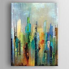 pintura al óleo moderna de la lona mano abstracto pintado con estirada enmarcada – USD $ 69.99