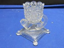 EAPG Cat on Pillow Daisy & Button Toothpick Holder/Match Safe Free US Ship #64