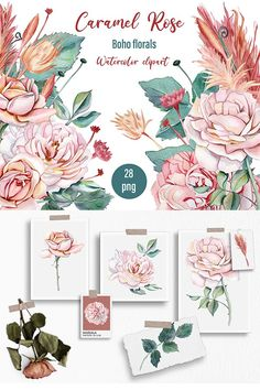 Rose Clipart, Watercolor Rose, Dried Flowers, Design Bundles, Boho Wedding, Pink Roses, Creative Design, Printing On Fabric, Stencils