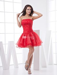 A-line Strapless Satin Organza Summer Prom Dress_Homecoming Dress. Red prom dress in a-line with strapless design with ruffles hemline.Made of satin and organza.Prom dresses always attract attentions of all. The unique design and special style lead the fashion all the time and make large num.. . See More Strapless at http://www.ourgreatshop.com/Strapless-C977.aspx