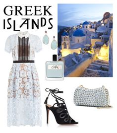 """Out for dinner on the island"" by chantel-meavers on Polyvore featuring self-portrait, Aquazzura, Elie Saab, Olfactive Studio, BillyTheTree, Packandgo and greekislands"