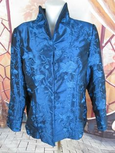 Oriental Silk Fashionable Jacket Blue Floral Embroidery Women's Coat Size XL #EasternHelen #Motorcycle