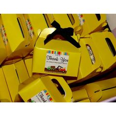 """""""Tonka Trucks"""" themed baby shower.   Favor Table. Customized stickers for candy and chocolate THANK YOU favors. LAFJ® EJTownsend©"""