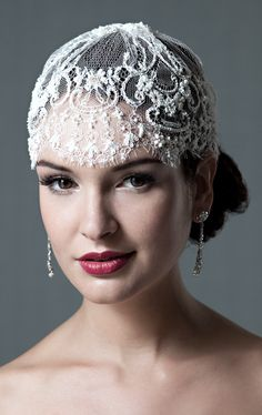 Marielle French Lace Beaded Cap by Enchanted Atelier for Sophie Hallette