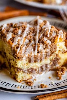 Sour Cream Coffee Cake, with a Ridiculous Amount of Streusel from The Food Charlatan. This is my FAVORITE recipe for Sour Cream Coffee Cake! My main complaint with Coffee Cake is that there is usually too much cake, not enough streusel. This recipe gives you the max amount of streusel without ruining the light fluffiness of the cake! A vanilla drizzle finishes it off! #coffeecake #sourcream #icing #frosting #drizzle #easy #recipes #cinnamon #streusel #sourcream #crumb #crumble #moist #breakfast Bisquick Coffee Cake Recipe, Moist Coffee Cake Recipe, Sara Lee Coffee Cake Recipe, Apple Coffee Cakes, Coffe Cake, Sour Cream Coffee Cake, Cake With Sour Cream, Coffee Cream, Caramel Pecan