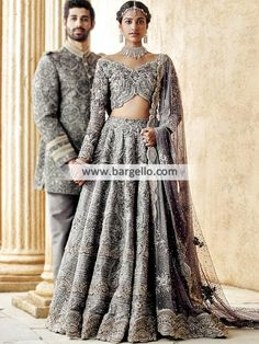 The Stylish And Elegant Lehenga Choli In Grey Colour Looks Stunning And Gorgeous With Trendy And Fashionable Embroidery . The Satin Fabric Party Wear Lehenga Choli Looks Extremely Attractive And Can A. Pakistani Couture, Bridal Lehenga Choli, Pakistani Wedding Dresses, Indian Wedding Outfits, Indian Couture, Bridal Outfits, Indian Dresses, Indian Outfits, Wedding Hijab
