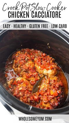 Slow Cooker Chicken Cacciatore Recipe – Low Carb - The best Crock Pot slow cooker chicken cacciatore recipe! Choose from 2 versions of easy Italian chicken cacciatore - quick 10 minute prep or a bit longer, more flavorful version. Slow Cooker Chicken Healthy, Crock Pot Slow Cooker, Healthy Crockpot Recipes, Low Carb Recipes, Cooking Recipes, Chicken Cooker, Keto Chicken, Diabetic Slow Cooker Recipes, Healthy Crock Pots