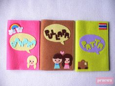 Personalized Felt Passport Holder with your name and by praewa