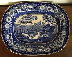 Large antique c. English Staffordshire oval platter in a pattern called Wild Rose - marked on the base in blue and with impressed shield. Measures 17 x 14 Good condition - old chip to the back - see photos. English, Blue China, Platter, Rose, Blue And White, Antiques, Photos, Ebay, Antiquities