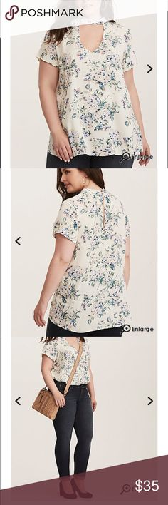 Torrid Plus Size 4 new Ordered a couple of weeks ago and I do not feel like my chest fills out the neckline. Would like to sell and try a different style. New with tags, torrid 4  DETAILS If we could frame this stunning floral print and hang it up in our living room...we wouldn't because we want to show it off with this top! The slightly textured ivory crepe is lightweight and swingy, while the rest of the top keeps it sexy with keyhole cutouts on the front and back.   imported plus size…