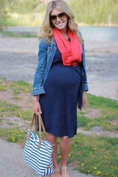 spring in Nashville =navy dress + denim jacket + cute scarf...just add some cowgirl boots!