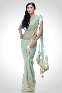 Pistachio green soft net saree | Satya Paul