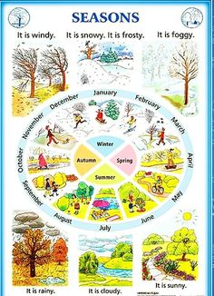 Seasons in English Learning English For Kids, Teaching English Grammar, Kids English, English Vocabulary Words, Learn English Words, English Language Learning, English Writing, English Study, English Lessons