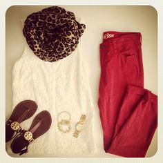 Cheetah print scarf + white sleeveless blouse + red pants