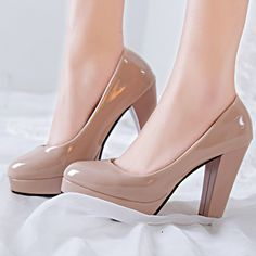 Women Nude Color Patent Leather Pumps,2017 Fashion Round Toe High Thin Heels Stilettos,Sexy OL Comfortable Slip On Party Shoes