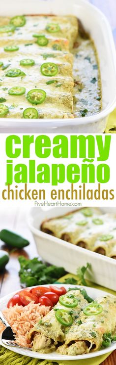 Creamy Jalapeño Chicken Enchiladas ~ cheesy, flavorful, and smothered in copycat Chuy's Creamy Jalapeño Dip for a dinner that's sure to become a family favorite!   FiveHeartHome.com