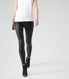 I wish! Reiss Carrie Womens Black Leather Leggings