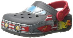 crocs Boys Galactic Light-Up Clog (Toddler/Little Kid), Charcoal, 8 M US Toddler. Lights up with every step! Fun rocket ship galactic graphics boys will love. Long-lasting LED lights; batteries are not replaceable. Croslite foam construction for lightweight cushion and comfort.