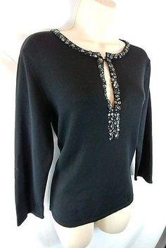 Talbots NEW Black 3/4 Sleeve Embellished Keyhole Neck Sweater Ladies M
