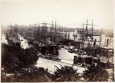 Hamburger Hafen, um 1883, Albuminpapier, Foto: Georg Koppmann