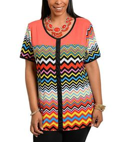 Loving this Coral & Yellow Zigzag Button-Up Top - Plus on #zulily! #zulilyfinds