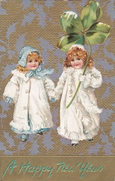 TUCK #139; NEW YEAR, PU-1908: Two girls wearing coats & bonnets, Clover, Gold