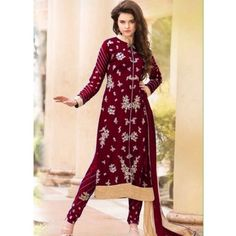 Felicity Maroon Georgette Designer Salwar Suit Comes With Matching Color Santoon Bottom, Matching Color Nazneen Dupatta, Santoon Inner.It Contained The Embroidery Work. This Suit Which can be Customized up to bust size 44