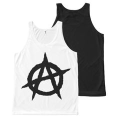 Anarchy symbol black punk music culture sign chaos All-Over-Print tank top - black gifts unique cool diy customize personalize