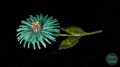 Turquoise Flower Brooch  Vintage from BloomersAndFrocks on Etsy, $14.00