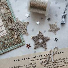 シルバーの星 DMCmetallic thread Madeira metallic thread Silk thread #ブランボヌール#blancbonheur#タティングレース#tattinglace #frivolite #オーダーメイドレース #ordermadelace #ウエディング#wedding #天体観測#明日は満月