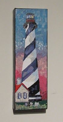 torn paper art - lighthouse