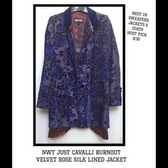 "HP NWT JUST CAVALLI Burnout Velvet Silk Jacket Runway Fabulous ~ Just Cavalli Designed by Roberto Cavalli ~Burnout Cut Velvet Rose Print Lined Jacket~ Exterior Color: Blue ~Lining: Red/Black~One Button Closure ~Zipper Collar w Just Cavalli Pulls ~Sleeves with 5 velvet detail buttons ~Two Front Flap Pockets Still Sewn Closed~ 13""Slit opening in back~Primary Fabri : 82%Viscose 18%Silk Lining: 100%Viscose ~Size 38 US S Measurements: shoulders:14.5"" chest: 18.5"" sleeves: 24"" length: 32.5"" w/ 1""…"